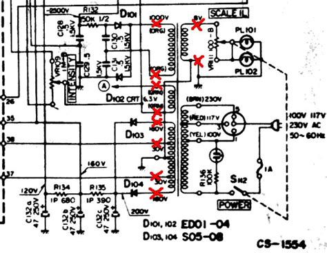 power supply resistor in series with primary side of transformer failing electrical