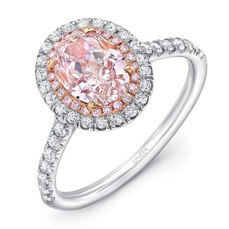 pink ring uneek oval pink engagement ring with pink diamonds