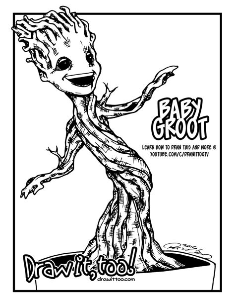 coloring page baby groot baby groot guardians of the galaxy draw it too
