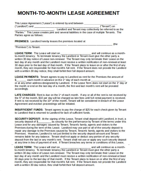 month to month rental agreement printable rental agreement 7 free word pdf documents