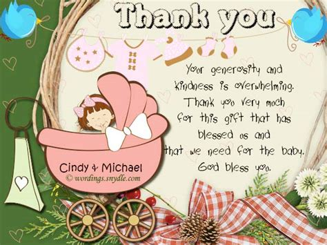 Sle Thank You Card For Baby Gift - thank you note for baby shower at work image bathroom 2017