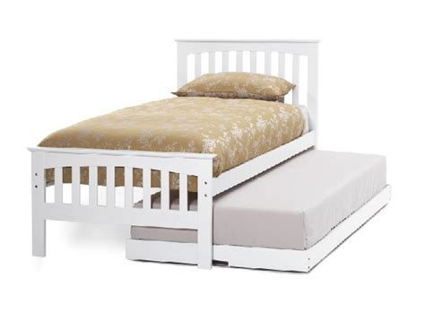 serene amelia ft single white wooden guest bed frame
