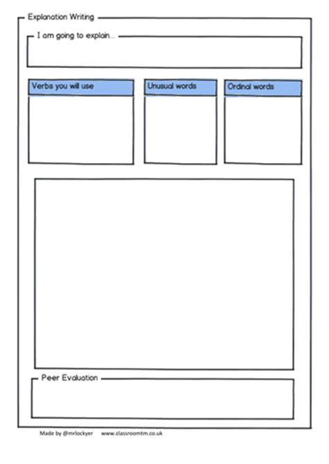 Information Report Template Year 4 4 X Explanation Scaffold Sheets By Mrlockyer Teaching