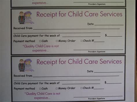 printable child care receipt receipt for daycare services yelp