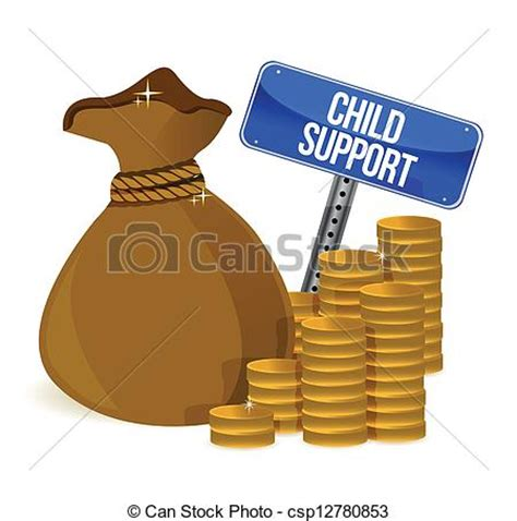Child Support Search Clipart Vector Of Bag With Child Support Signs Illustration Design White
