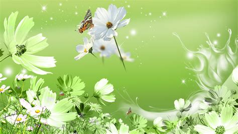 flower background green flower wallpaper