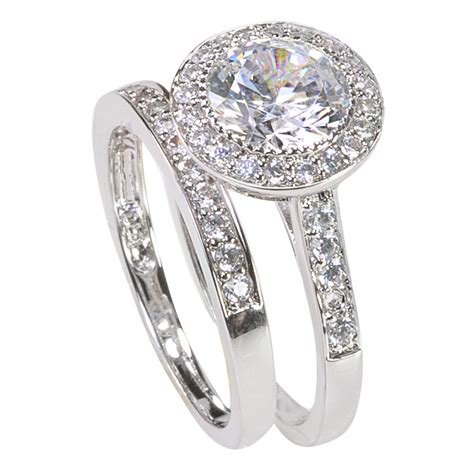 s sterling silver engagement ring set 2ct cubic