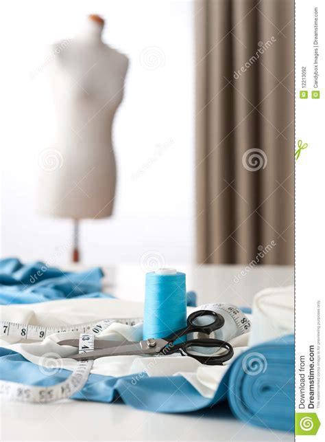dress design equipment fashion designer studio with equipment stock photography