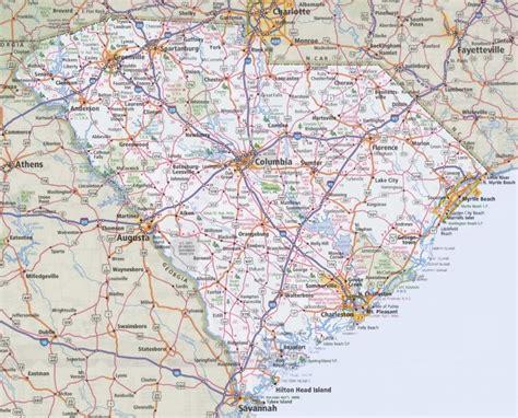 carolina road map with cities south carolina road map
