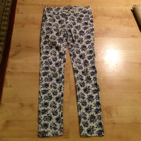blue and white patterned jeans paige paige blue and white floral pants from kristina s