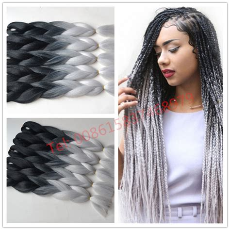 grey hair braid extensions free shipping ombre kanekalon braiding hair two toned