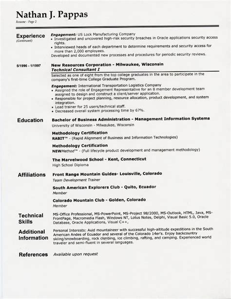 resume personal section resume format margins botbuzz co