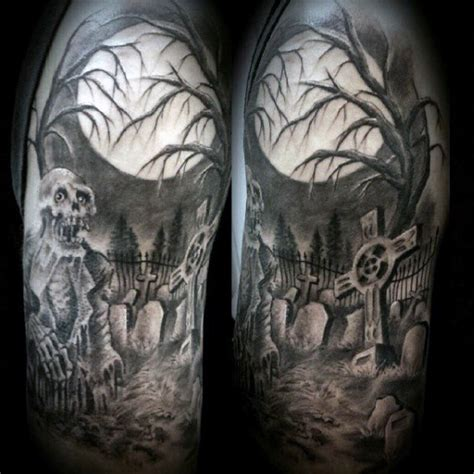 40 graveyard tattoo designs for men earthy ties left behind