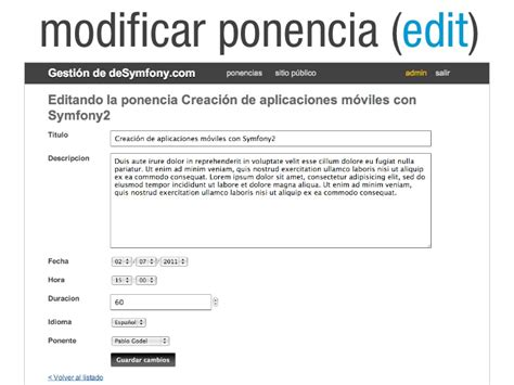 Tutorial Php Backend | desymfony 2011 tutorial 5 backend