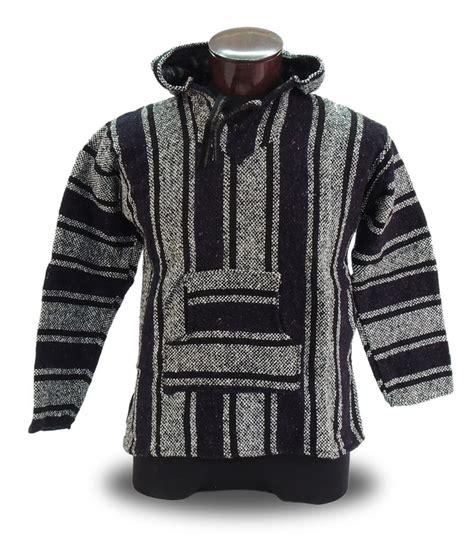 rug jacket black baja hoodie mexico rug 100 recycled fibers hippie jacket unisex surf outerwear