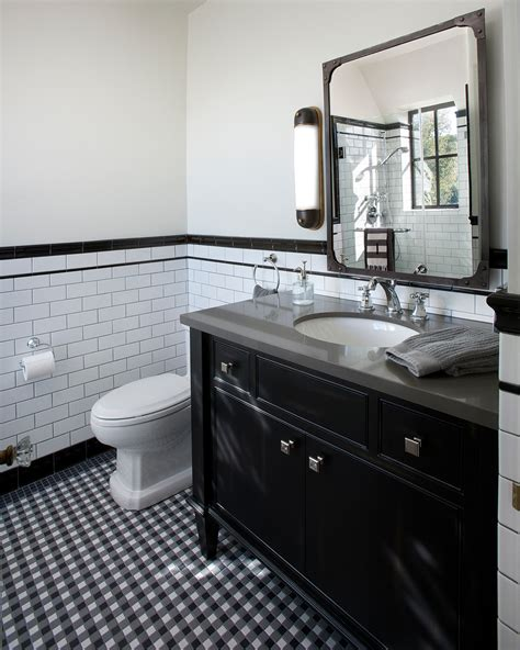 Industrial wall sconce bathroom traditional with black and white tile beeyoutifullife com