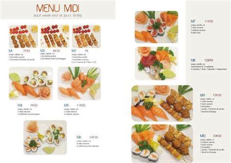 menus sushis sashimis californiens photo de des