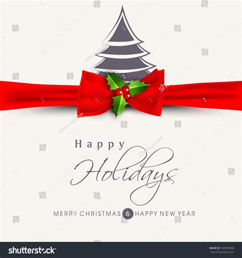 happy holiday tree ribbon happy holidays concept with stylish tree and ribbon on abstract background stock