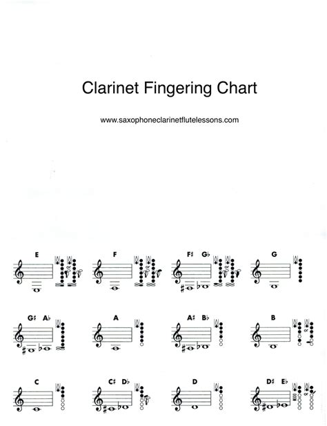 clarinet lessons for beginners books basic clarinet chart saxophone clarinet and
