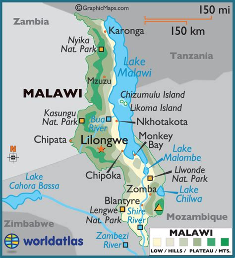malawi map malawi large color map