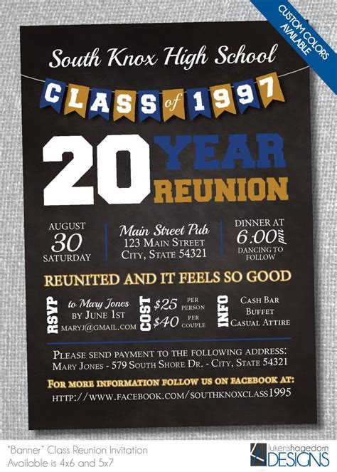 Chalkboard Class Reunion Invitation With Banner Digital File Only By Lukenshagedorndesign On Reunion Invitation Template