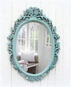 Vintage mint oval mirror shabby chic beach cottage