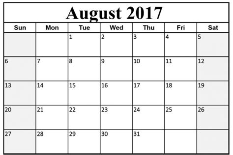printable calendar august 2017 august 2017 calendar printable template pdf usa uk