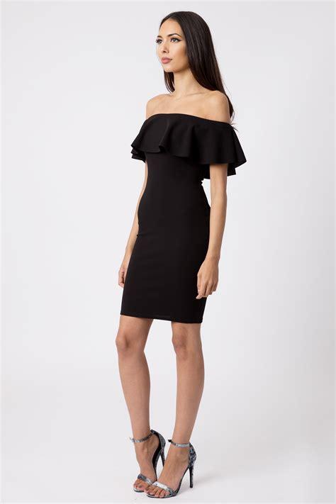 black   shoulder bodycon dress dresses clothing