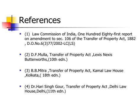 transfer of property act section 106 amendment in section 106 of the tp act