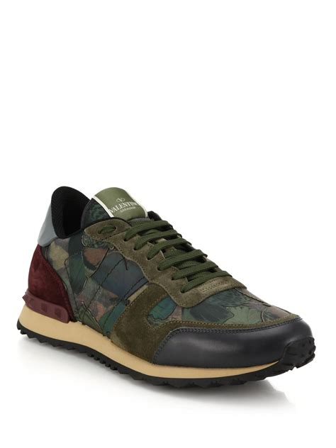 s valentino sneakers valentino rockrunner camo studded sneakers in green lyst