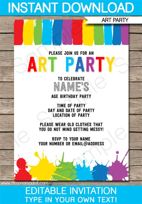 free printable art birthday invitations art party invitations theruntime com