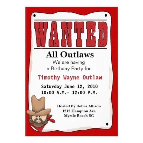 wanted poster invitation template wanted poster birthday invitation