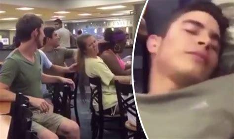 cruel prankster pulls womans hair  suffers instant