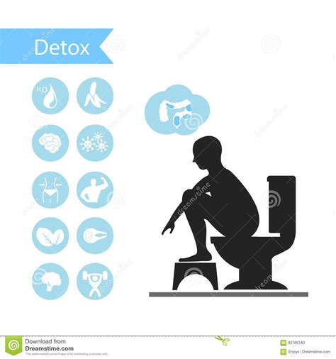 Detox On Toilet by Silhouettes Sitting On A Toilet With Detox Icons Stock