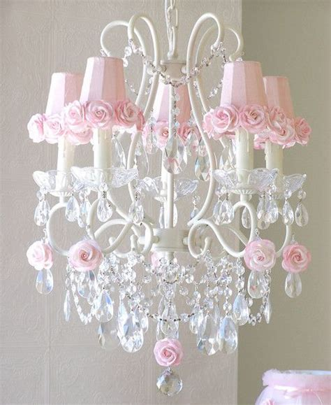 White And Pink Chandelier 5 Light Antique White Chandelier With Pink Shades Beautiful Glasses And Pink Roses