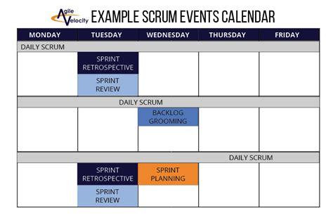 scrum schedule template scrum calendar related keywords scrum calendar