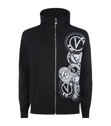 versus versace logo knitted zip jumper black f 233 rfidivat