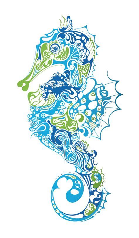 Sea Wall Murals render hippocampe abstrait bleu marins animaux png