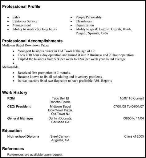 simple resume profile exles cv exles student katy perry buzz