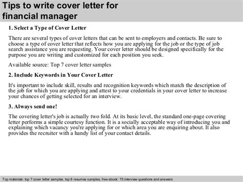 Cover Letter Financial Manager financial manager cover letter