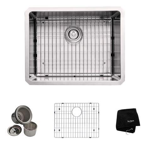 Kraus Kitchen Sink Kraus Undermount Stainless Steel 23 In Single Basin Kitchen Sink Kit Khu101 23 The Home Depot