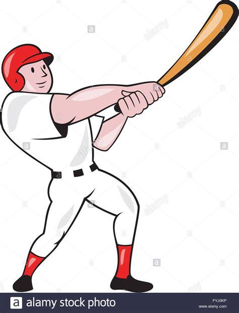swinging a bat baseball player swinging bat cartoon stock photo royalty