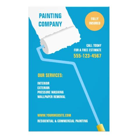 painting flyers templates free painting company contractor flyer zazzle
