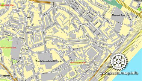 printable map lisbon lisbon lisboa portugal printable vector street map