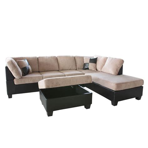 Corduroy Sectional by Homesullivan Whittier Black Tufted Faux Leather 2