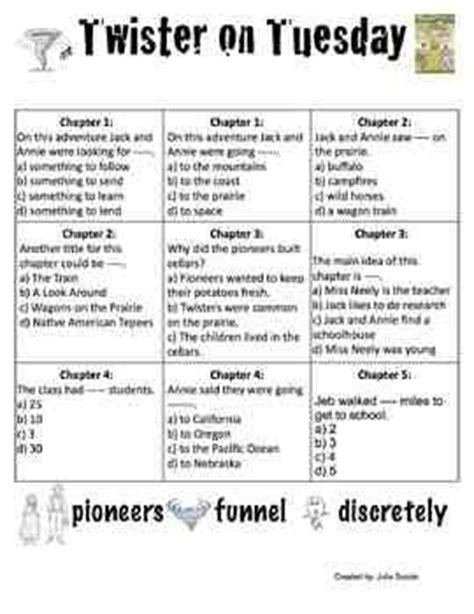 magic tree house printable quizzes twister before tuesday magic tree house questions