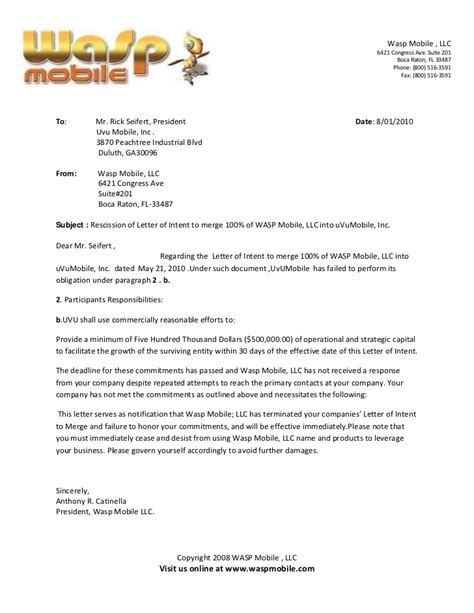 Contract Rescission Letter Rescission Of Letter Of Intent To Merge 100 Of Wasp Mobile Llc Into