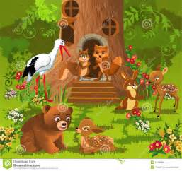 Treehouse Plans For Kids - forest animals living in the tree house stock vector image 54388068