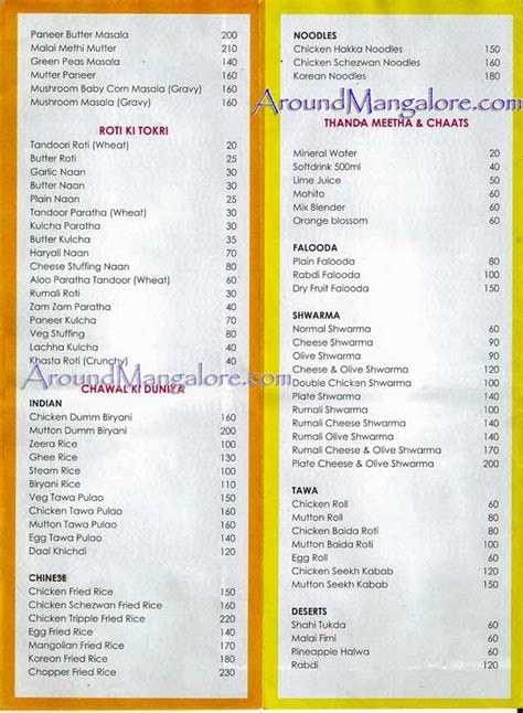 Table Restaurant Menu Town Tables Restaurant Attavar Around Mangalore Info