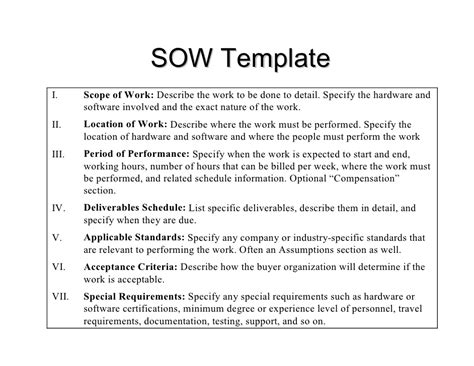 consulting sow template 28 images statement of work